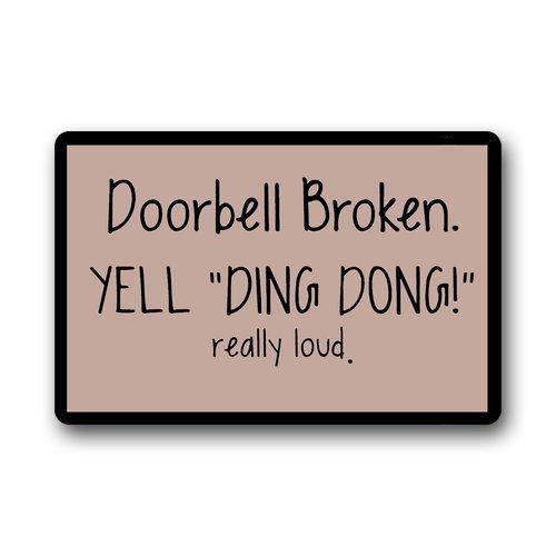 - SODIKA Indoor Non Slip Entry Way Doormat for Front Door Kitchen Bathroom Thin Rugs 15.7 x 23.6 Doorbell Broken Yell Ding Dong Really Loud
