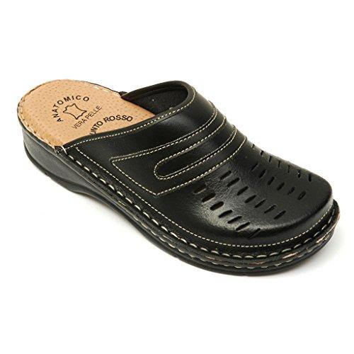 Zapatillas De Rosso Punto Bril Zapatos Zuecos Negro Dr Para Mujer Cuero D55 HqF5fxY