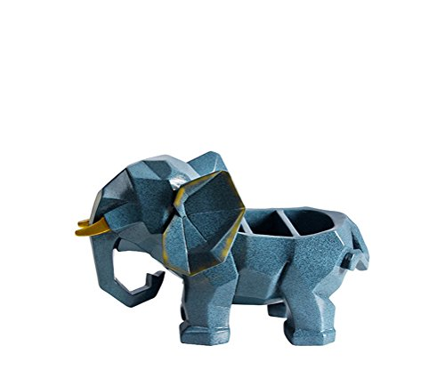 Dbtxwd Desktop Storage Box Resin Elephant Modeling Ornaments Remote Control Mobile Phone Stationery Holder Tidy Organizer Case For Living Room Office,Blue1