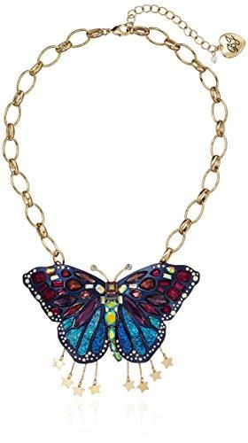 - Betsey Johnson Butterfly Multi-Color Butterfly Pendant Necklace, 17