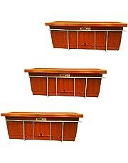 مجموعة احواض زراعة 40 × 20 مع حامل معدني للشرفة - 3 قطع