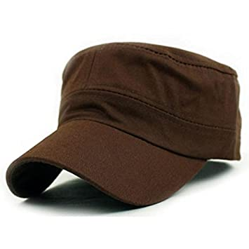 003d2f59048 Amazon.com  Gifts For Men ! Charberry Mens Flat Top Hat Classic Plain  Vintage Army Military Cadet Style Cotton Cap Hat Adjustable (Coffee)  Baby