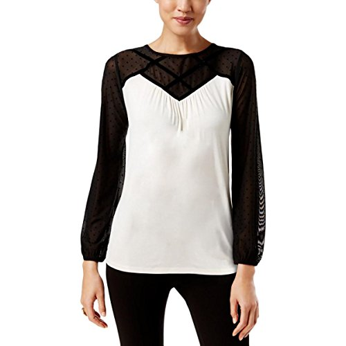 August Silk Womens Mesh Inset Colorblock Fitted Top Black-Ivory (Mesh Silk Blouse)