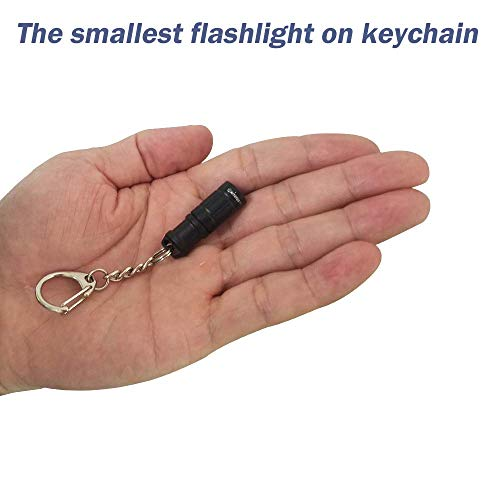 Super Tiny Mini Small Keychain Flashlight, Smallest Bright Long Lifetime Waterproof Key Ring Light Torch for EDC Emergency Dog Walking Sleeping Reading Gift for Student Kids or Parents(e1 aluminium)