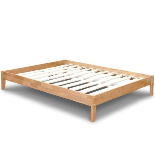Best Price Mattress Solid Hardwood Platform Bed, Queen, Natu