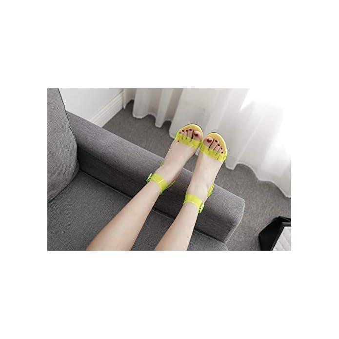 Fengjingyuan Sandali Da Donna - Stiletto Con Cinturini Incrociati In Pvc Color Caramelle Fashion