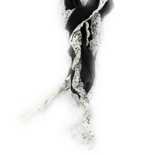 Les Trésors De Lily [J8809] - Echarpe 'Liberty' noir ivoire