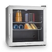 Klarstein Beersafe XL • Réfrigérateur • Frigo • 60 litres • Porte en verre • A++ • Compact • Thermostat réglable • Acier inoxydable • 2x étagères • Poids env.24,5 kg • Hauteur réglable • Noir