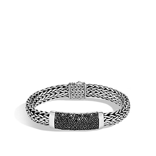 John Hardy MEN's Classic Chain Silver Large Flat Chain Bracelet with Pusher Clasp with Black Sapphire, Size M - BMS9910094BLSXM