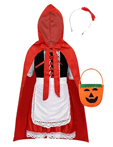 TiaoBug Little Red Girls Riding Hood Halloween Cosplay Costume Make up Party Dress Fairy Tale Outfits Set Red 4-5 ()