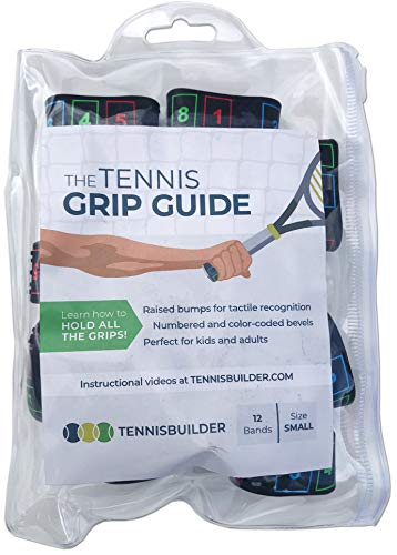 The Tennis Grip Guide by Tennisbuilder | Designed for Adults and Kids Tennis Racket | from Advanced to Beginner Tennis Players (Small, 12 Pack) (Best Tennis Racquet For Advanced Players)