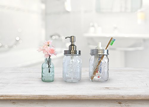 Farmhouse Bathroom Decor - Mason Jar Soap Dispenser and Toothbrush on mason jar pillows, mason jar window treatments, mason jar home, mason jar shabby chic, mason jar kitchen decorations, mason jar shower curtain, canning jar bathroom decor, mason jar paint ideas, mason jar rugs, mason jar gifts for women, mason jar living room, mason jar country decorating, mason jar soap dispenser, mason jar kitchen items, mason jar decorate, mason jar dolls, mason jar pottery, mason jar tables, mason jar clothing, mason jar line art,