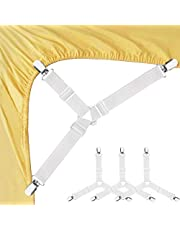 Bed Sheet Fasteners, Adjustable Triangle Elastic Suspenders Gripper Holder Straps Clip for Bed Sheets,Mattress Covers, Sofa Cushion