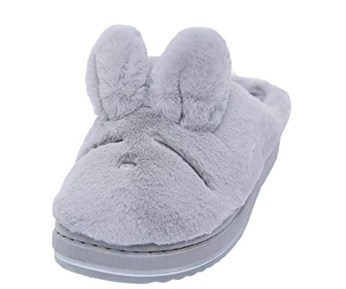 Asche Women's Soft Memory Foam Slippers Indoor&Outdoor House Shoes Fluffy Faux Fur Grey Bunny Slippers 7.5 M US