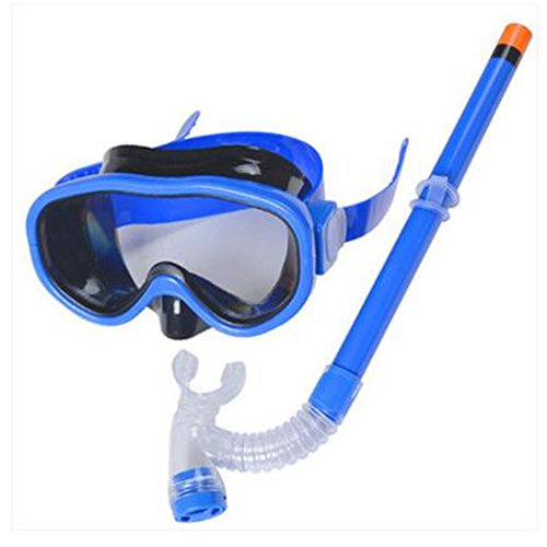 Dongcrystal Junior Swimming Scuba Anti Fog Goggles Snorkeling Set (Mask and Snorkel)-Blue - Sunglasses Synonyms