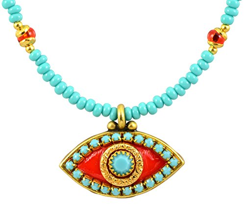 Michal-Golan-Teal-Gold-and-Coral-Evil-Eye-Pendant-and-Beaded-Necklace