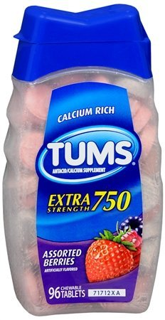 Tums Antacid/Calcium Supplement, Extra Strength 750, Chewable Tablets, Assorted Berries 96 tablets by TUMS