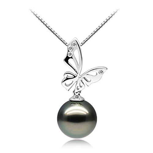 Noir 10-12mm AAA-qualité de Tahiti 585/1000 Or Blanc-un set en perles