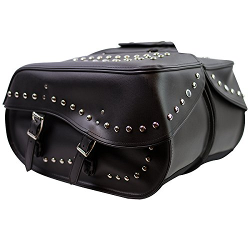 Motorcycle Saddlebags - SD4068 Studded Zip-Off and Throw Over Saddlebags