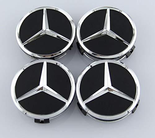 TSD 4 Pcs Outer Diameter 75mm Black Wheel Cover Hub Center Caps Apply to Mercedes-Benz (Alternatives)