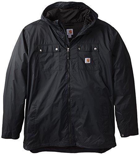Carhartt Mens Big   Tall Rockford Rain Defender Jacket Black Xxx Large Tall