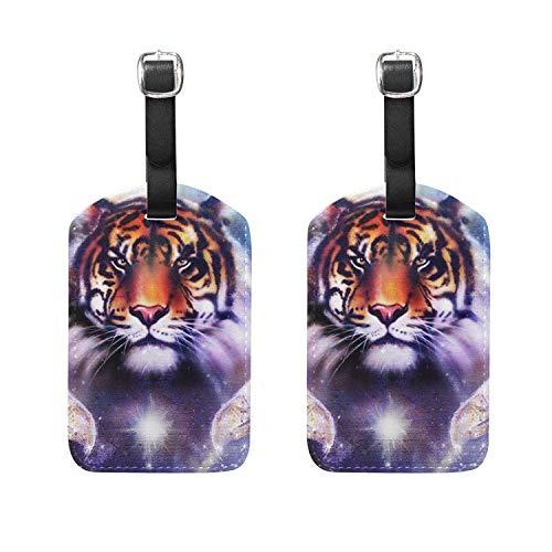 Set of 2 Luggage Tags Tiger Eye Yin Yang Eagle Suitcase Labe