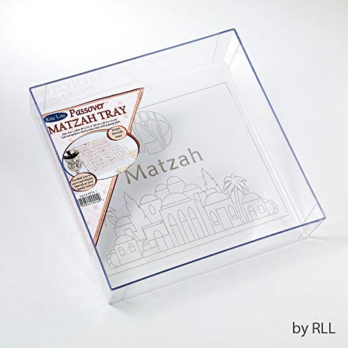 - Rite -Lite Judaica Passover Acrylic Matzah Holder Box - Square Embossed with Jerusalem Design