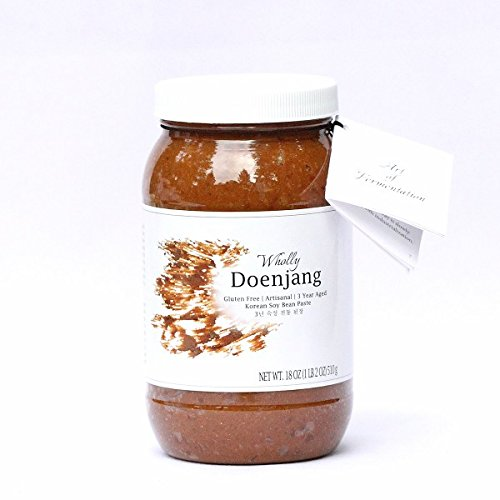 Wholly Doenjang, Premium Gluten-free Unpasteurized Artisanal 3 Year Aged Korean Soybean Paste (18 oz) (Soybean Paste)