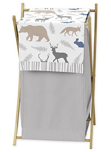 Pooh Memory Match - Sweet Jojo Designs Baby Children Kids Clothes Laundry Hamper for Blue Grey and White Woodland Animals Bedding Set