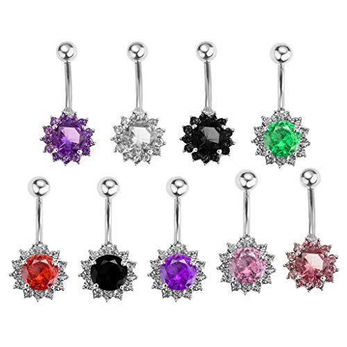 9pcs 1.5mm Bar Colorful Flower Belly Button Ring Navel Barbell Body Jewelry