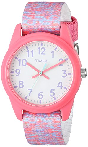 Timex Girls TW7C12300 Time Machines Pink/White Sport Elastic Fabric Strap Watch (Youth Timex Watch)