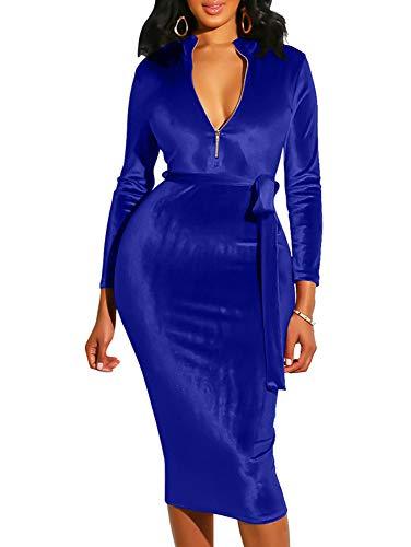 Stretch Velvet Belt - BEAGIMEG Women's Long Sleeve V Neck Velvet Party Club Pencil Dress with Belt Royal Blue