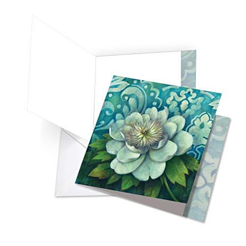 Elegant Magnolia - Blue Magnolia - Beautiful Thank You Card with Envelope (XL 8.25 x 9.75 Inch) - Elegant Flower, Appreciation Greeting Card for Women - Fancy Floral, All Occasion Thank You Notecard JQ4594ATYG
