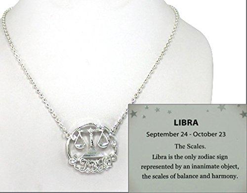 Libra Zodiac Symbols (Libra Zodiac Symbol Silver-tone Chain 18
