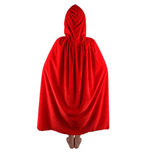 SUNYIK Unisex Kids Velvet Long Hooded Cloak Cape Halloween Party Role Cosplay -