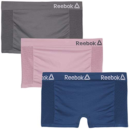 Reebok Women Plus Size Seamless Boyshort Panties Underwear (3 Pack), Grey/Blue/Pink, Size 1X\''
