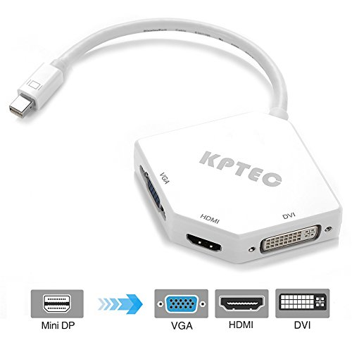 KPTEC Mini DisplayPort (Thunderbolt) to HDMI DVI VGA Adapter - White