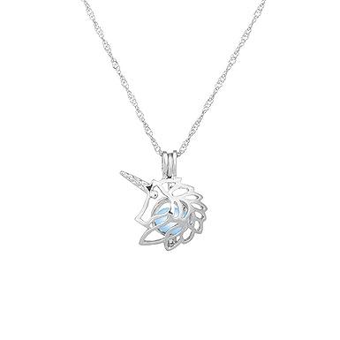 FENICAL Unicornio Hueco Collar de Perlas Perla Jaula Colgante ...