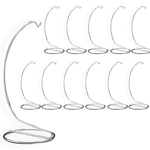 BANBERRY DESIGNS Metal Ornament Stand Smooth Silver Chrome - 7 Inch High - Set of 12 Pieces