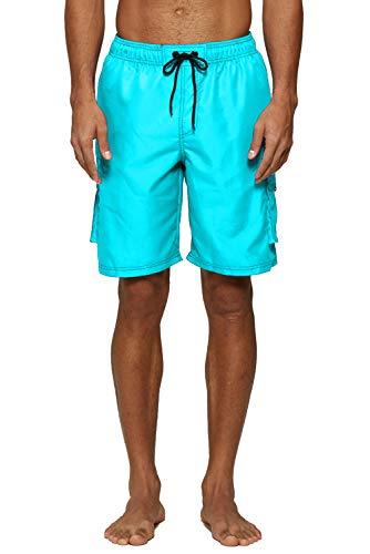 (ELF QUEEN Cyan Swim Trunks for Men Surf Shorts Beachwear Drawstring Waist Swimwear)