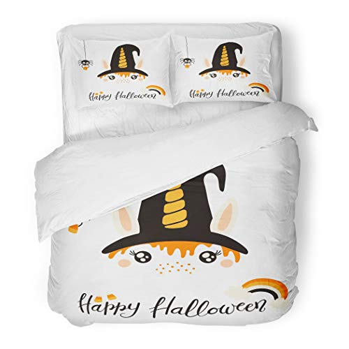 Emvency Bedding Duvet Cover Set Orange Animal of Cute Funny Witch Unicorn Face Lettering Quote Happy Halloween Flat for Children Baby 3 Piece Set with 2 Pillow Shams Queen 90