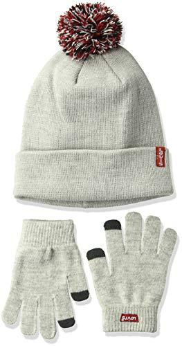 Levis Kids Big Tech Beanie and Glove Set, Light Grey Heather, O/S