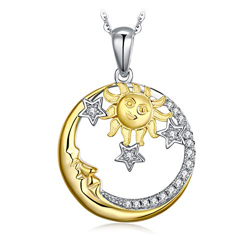 JewelryPalace Vintage Celestial Sun Gold Moon Star Cubic Zirconia Beads Charm Fit Bracelets 925 Sterling Silver 18 Inches Box Chain (Moon And Star Charm Bracelet)
