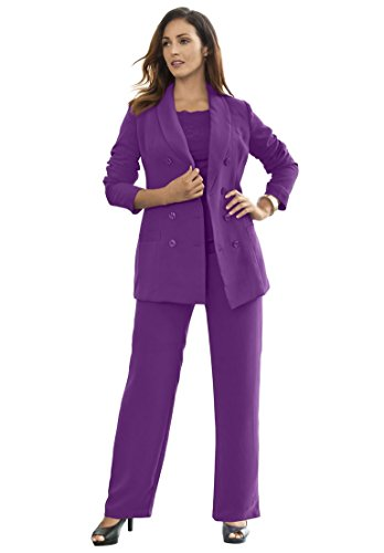 Jessica London Women's Plus Size Double-Breasted Pantsuit Wild Berry,18 (Plus Size Suits)