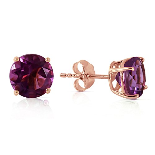 3.1 Carat 14K Solid Rose Gold Anna Amethyst Stud Earrings