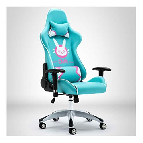 Chair Butaca de Juego E-Sports Silla Ordenador Personal Silla DVA Rosa Racing Silla Silla compartida Ancla giratoria Silla de Oficina,Azul