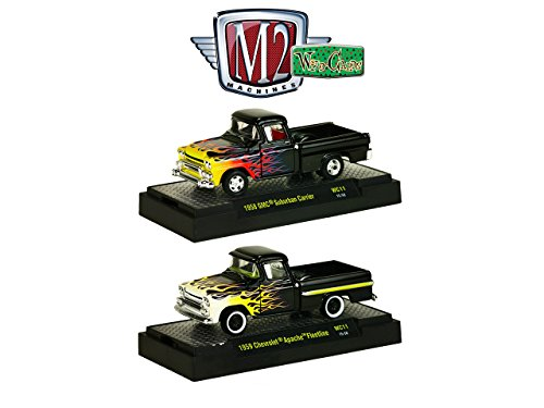 Wild Cards 1958 GMC Suburban Carrier Pickup Truck and 1959 Chevrolet Apache Fleetline Pickup Truck Set of 2 WITH CASES 1/64 by M2 Machines 32500-WC11 Chevrolet Fleetline Truck