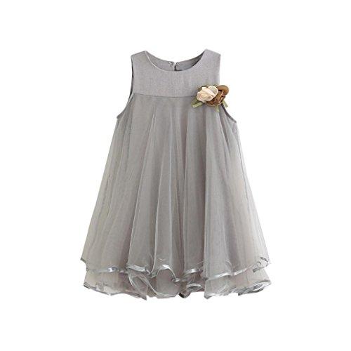 kaifongfu Toddler Dresses,Girl Chiffon Dresses Sleeveless Drape Dress + Brooch (4T, (Dress Brooch)