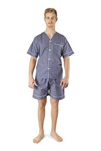 Men's Woven Pajama V-Neck Sleepwear Short Sleeve Shorts and Top Set, Sizes S/4XL - Blue Brown Plaid - Large