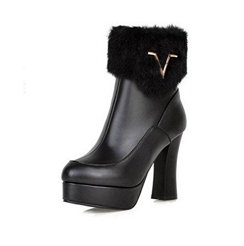 AgooLar Damen Niedrig-Spitze Reißverschluss Blend-Materialien Hoher Absatz Stiefel, Schwarz, 41